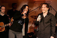 Former Formula One World Champion Jacques Villeneuve launch<br />  his first music album, February 19 2007 at NEWTOWN ; his Montreal nightclub and restaurant.<br /> <br /> He he seen here singing a song  with ELY from France Star Academie 5<br /> <br /> photo : Pierre Roussel (c)  Images Distribution