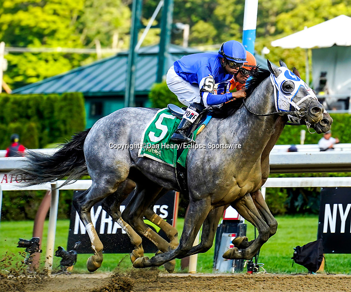 July 31, 2021: Essential Quality #5, ridden by jockey Luis Saez win the Grade 2 Jim Dandy Stakes, a prep race for the Grade 1 Travers at Saratoga Race Course in Saratoga Springs, N.Y. on July 31, 2021. Dan Heary/Eclipse Sportswire/CSM