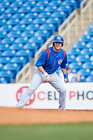 South Bend Cubs right fielder Brandon Hughes (11) leads off first base during the first game of a doubleheader against the Lake County Captains on May 16, 2018 at Classic Park in Eastlake, Ohio.  South Bend defeated Lake County 6-4 in twelve innings.  (Mike Janes/Four Seam Images)