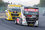 French driver Anthony Janiec belonging Portugese team Lion Truck Racing and Monegasque driver Ellen Lohr belonging German team Truck Sport Lutz Bernau during the fist race R1 of the XXX Spain GP Camion of the FIA European Truck Racing Championship 2016 in Madrid. October 01, 2016. (ALTERPHOTOS/Rodrigo Jimenez)