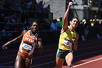 13 JUNE 2015: Jenna Prandini of Oregon celebrates as she crosses the finish line ahead of Morolake Akinosun of Texas to win the Women's 100 meters during the Division I Men's and Women's Outdoor Track & Field Championship held at Hayward Field in Eugene, OR. Prandini won the event in a time of 10.96. Steve Dykes/ NCAA Photos