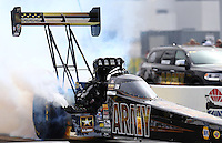 Apr 10, 2015; Las Vegas, NV, USA; NHRA top fuel driver Tony Schumacher during qualifying for the Summitracing.com Nationals at The Strip at Las Vegas Motor Speedway. Mandatory Credit: Mark J. Rebilas-