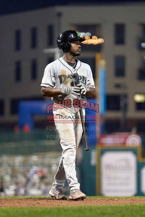 Dayton Dragons Ivan Johnson (22) during a game against the Fort Wayne TinCaps on August 25, 2021 at Parkview Field in Fort Wayne, Indiana.  (Mike Janes/Four Seam Images)