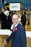 """© Joel Goodman - 07973 332324 . 24/02/2017 . Stoke-on-Trent , UK . PAUL NUTTALL underneath a sign reading """" DOUBTFUL """" at the count in the by-election for the constituency of Stoke-on-Trent Central , at Fenton Manor Sports Complex , Stoke , UK . Photo credit : Joel Goodman"""