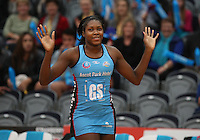 Steel's Jhaniele Fowler runs out on court against the Thunderbirds in the ANZ Championship netball match, Edgar Centre, Dunedin, New Zealand, Saturday, April 06, 2013. Credit:NINZ/Dianne Manson