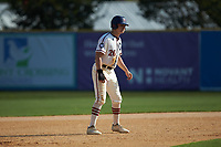 Zach Gelof (26) (UVA) of the High Point-Thomasville HiToms takes his lead off of second base against the Statesville Owls at Finch Field on July 19, 2020 in Thomasville, NC. The HiToms defeated the Owls 21-0. (Brian Westerholt/Four Seam Images)