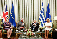 Pictured: Prince Charles with his wife the Duchess of Cornwall with Greek President Prokopis Pavlopoulos (3rd L) at the Presidential Mansion in Athens, Greece. Wednesday 09 May 2018 <br /> Re: Official visit of HRH Prnce Charles and his wife the Duchess of Cornwall to Athens, Greece.