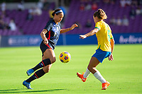 ORLANDO CITY, FL - FEBRUARY 21: Lynn Williams #6 of the USWNT battles for the ball during a game between Brazil and USWNT at Exploria Stadium on February 21, 2021 in Orlando City, Florida.