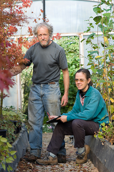 Portrait of Nick and Karan in one of the Polytunnels