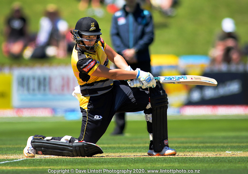 Thamsyn Newton bats during the Dream11 Super Smash women's cricket match between the Wellington Blaze and Canterbury Magicians at Basin Reserve in Wellington, New Zealand on Thursday, 9 January 2020. Photo: Dave Lintott / lintottphoto.co.nz