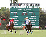 WELLINGTON, FL - MARCH 26:  Coca Cola's Miguel Novillo Astrada (red jersey) and Valiente's Matias Torres Zavaleta battle for control of the ball as Valiente defeats Coca Cola 9-6 in the final of the 26 goal USPA Gold Cup, at the International Polo Club, Palm Beach on March 26, 2017 in Wellington, Florida. (Photo by Liz Lamont/Eclipse Sportswire/Getty Images)