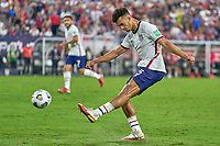 5th September 2021; Nashville, TN, USA;  United States defender Antonee Robinson (5) clears the ball during a CONCACAF World Cup qualifying match between the United States and Canada on September 5, 2021 at Nissan Stadium in Nashville, TN.