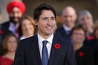 Justin Trudeau, Canada new  Prime Minister adress the medias  on the grounds of Rideau Hall in Ottawa, Ontario, on Wednesday, November 4, 2015.<br /> <br /> PHOTO : Raffi Kirdi<br /> - Agence Quebec Presse