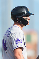 Salt River Rafters right fielder Sam Hilliard (14), of the Colorado Rockies organization, during the Arizona Fall League Championship Game against the Peoria Javelinas at Scottsdale Stadium on November 17, 2018 in Scottsdale, Arizona. Peoria defeated Salt River 3-2 in 10 innings. (Zachary Lucy/Four Seam Images)