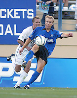 Earthquakes Defender Chris Roner in action against Rapids at San Jose Spartan Stadium in San Jose, California on July 12th, 2003.  Rapids defeats Earthquakes, final score is 2-0.