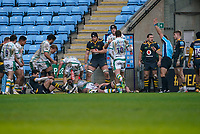 6th February 2021; Ricoh Arena, Coventry, West Midlands, England; English Premiership Rugby, Wasps versus Northampton Saints; The referee signals that Taqele Naiyaravoro of Northampton Saints has scored a try in the 31st minute for 18-0 lead to Northampton Saints