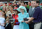 09 August 08: Marylou Whitney with the connections of Bullsbay (no. 3), ridden by Jeremy Rose and trained by H. Graham Motion, after the 82nd running of the grade 1 Whitney Handicap for three year olds and upward at Saratoga Race Track in Saratoga Springs, New York.