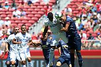 Santa Clara, CA - Sunday July 22, 2018: Harold Cummings, Antonio Valencia during a friendly match between the San Jose Earthquakes and Manchester United FC at Levi's Stadium.