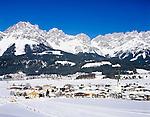 Austria, Tyrol, Kaiserwinkl, Ellmau: Wintersport resort and Wilder Kaiser mountains