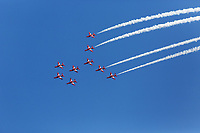 The Red Arrows perform for the Wales National Air Show in Swansea, Wales, UK. Saturday 30 June 2018