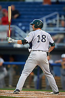 Vermont Lake Monsters first baseman Chris Iriart (18) at bat during the second game of a doubleheader against the Batavia Muckdogs August 11, 2015 at Dwyer Stadium in Batavia, New York.  Batavia defeated Vermont 1-0.  (Mike Janes/Four Seam Images)