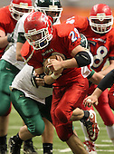 November 28, 2010:  Hornell Red Raiders varsity football against the Schalmont Sabres in the Class-B NYSPHSAA State Championship game at the Carrier Dome in Syracuse, New York.  Hornell defeated Schalmont 50-20 for their second straight state championship.  (Copyright Mike Janes Photography)