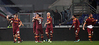 Calcio, Serie A: Lazio vs Roma. Roma, stadio Olimpico, 11 novembre 2012..AS Roma players celebrate after forward Erik Lamela, of Argentina, third from right, scored during the Italian Serie A football match between Lazio and AS Roma, at Rome's Olympic stadium, 11 November 2012. Lazio won 3-2..UPDATE IMAGES PRESS/Riccardo De Luca