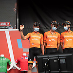 Euskaltel-Euskadi at sign on before the start of Stage 9 of La Vuelta d'Espana 2021, running 188km from Puerto Lumbreras to Alto de Velefique, Spain. 22nd August 2021.    <br /> Picture: Cxcling   Cyclefile<br /> <br /> All photos usage must carry mandatory copyright credit (© Cyclefile   Cxcling)