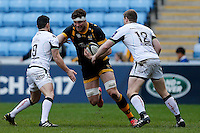 Photo: Richard Lane/Richard Lane Photography. Wasps v Ospreys. Anglo-Welsh Cup. 05/02/2017. Wasps' Will Rowlands attacks.