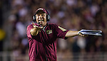 Florida State head coach Jimbo Fisher argues about the ball placement near the goal line in the first half of an NCAA college football game against Miami in Tallahassee, Fla., Saturday, Oct. 10, 2015.   The Florida State Seminoles defeated the Miami Hurricanes 29-24.