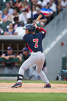 Bryson Brigman (7) of the US Collegiate National Team at bat against the Cuban National Team at BB&T BallPark on July 4, 2015 in Charlotte, North Carolina.  The United State Collegiate National Team defeated the Cuban National Team 11-1.  (Brian Westerholt/Four Seam Images)