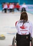 Sochi, RUSSIA - Mar 10 2014 -  Ina Forrest awaits a shot during Canada vs USA in Wheelchair Curling round robin play at the 2014 Paralympic Winter Games in Sochi, Russia.  (Photo: Matthew Murnaghan/Canadian Paralympic Committee)