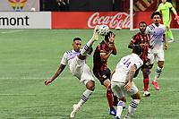 ATLANTA, GA - AUGUST 29: Antonio Carlos #25 of Orlando City clears the ball during a game between Orlando City SC and Atlanta United FC at Marecedes-Benz Stadium on August 29, 2020 in Atlanta, Georgia.