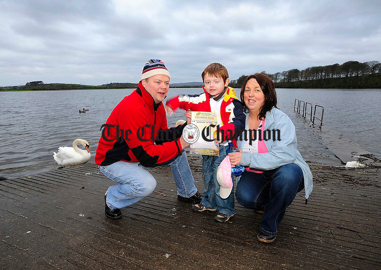 5 year old Jack Mulqueen with his parents Ronan and Patricia.Pic Arthur Ellis.