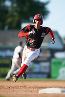 Batavia Muckdogs left fielder Corey Bird (12) running the bases during the second game of a doubleheader against the Auburn Doubledays on September 4, 2016 at Dwyer Stadium in Batavia, New York.  Batavia defeated Auburn 6-5. (Mike Janes/Four Seam Images)