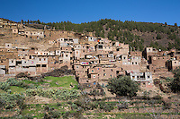 Berber village on the way to Tizi'n'Test Pass in the High Atlas Mountains of Morocco