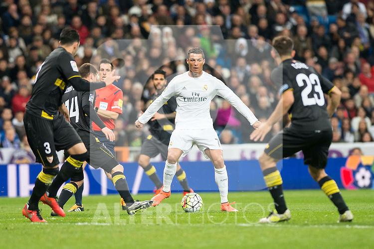Real Madrid's  and Sevilla FC's Adil Rami (L), Sebastian Cristoforo (C) and Coke during La Liga match. March 20,2016. (ALTERPHOTOS/Borja B.Hojas)