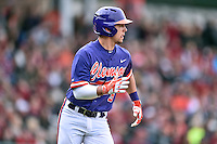 Clemson Tigers center fielder Chase Pinder (5) runs to first during a game against the South Carolina Gamecocks at Fluor Field on March 5, 2016 in Greenville, South Carolina. The Tigers defeated the Gamecocks 5-0. (Tony Farlow/Four Seam Images)