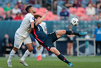 DENVER, CO - JUNE 3: Josh Sargent #9 of the United States takes a shot during a game between Honduras and USMNT at EMPOWER FIELD AT MILE HIGH on June 3, 2021 in Denver, Colorado.