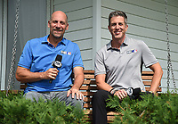 DYERSVILLE, IOWA - AUGUST 11: Fox Sports announcers John Smoltz and Kevin Burkhardt at the MLB Field of Dreams on August 11, 2021 in Dyersville, Iowa. The MLB Field of Dreams game between the Yankees and White Socks will be on August 12 on Fox. (Photo by Frank Micelotta/Fox Sports/PictureGroup)