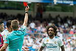 Marcelo Vieira da Silva Junior of Real Madrid walks off the pitch after receiving a red card from referee during the La Liga match between Real Madrid and Levante UD at the Estadio Santiago Bernabeu on 09 September 2017 in Madrid, Spain. Photo by Diego Gonzalez / Power Sport Images