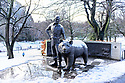 Edinburgh, UK. 29.12.2020. Wojtek the Soldier Bear Memorial gets his first dusting of snow, in the first Covid Winter, in Edinburgh's Princes Street Gardens. Edinburgh has been placed in Tier 4 restrictions due to the Covid-19 pandemic.Photograph © Jane Hobson.