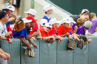 A group of young fans hope to catch a foul ball during the Carolina League game between the Salem Red Sox and the Winston-Salem Dash at BB&T Ballpark on May 5, 2012 in Winston-Salem, North Carolina.  The Red Sox defeated the Dash 6-4.  (Brian Westerholt/Four Seam Images)