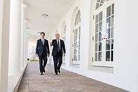 President Donald Trump and Canadian Prime Minister Justin Trudeau walk along the Colonnade outside the Oval Office, Monday, Feb. 13, 2017, at the White House in Washington, D.C. (Official White House Photo by Shealah Craighead)