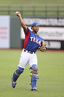 Sherman Lacrus #13 of the AZL Rangers during a game against the AZL Cubs at Surprise Stadium on July 6, 2014 in Surprise, Arizona. AZL Rangers defeated the AZL Cubs, 7-5. (Larry Goren/Four Seam Images)