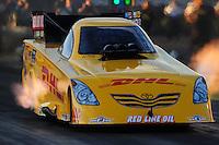 Oct. 14, 2011; Chandler, AZ, USA; NHRA funny car driver Jeff Arend during qualifying at the Arizona Nationals at Firebird International Raceway. Mandatory Credit: Mark J. Rebilas-