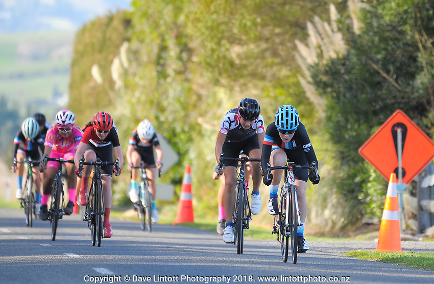 Bee Townsend during the Under-17 Girls Millars Road circuit race on day two of the 2018 NZ Age Group Road Cycling Championships in Carterton, New Zealand on Saturday, 21 April 2018. Photo: Dave Lintott / lintottphoto.co.nz