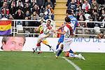Rayo Vallecano´s Ze Castro and Levante UD´s Victor Casadesus Castano during 2014-15 La Liga match between Rayo Vallecano and Levante UD at Vallecas stadium in Madrid, Spain. February 28, 2015. (ALTERPHOTOS/Luis Fernandez)
