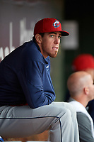 Columbus Clippers Bradley Zimmer in the dugout during a game against the Louisville Bats on May 1, 2017 at Louisville Slugger Field in Louisville, Kentucky.  Columbus defeated Louisville 6-1  (Mike Janes/Four Seam Images)