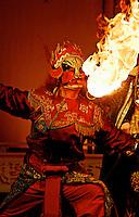 Fire-spitter at Sichuan Opera, Chengdu, China.